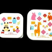 2 cute snack size bento boxes pink blue
