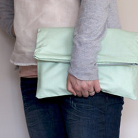 Fold over Zipper Clutch in Pastel Mint Green with Slate Grey (gray) lining