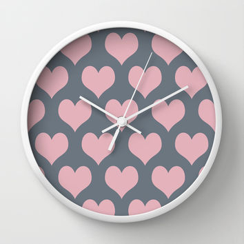 Hearts of Love Coral Pink Gray Wall Clock by BeautifulHomes