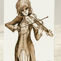 ACEO Violin Close Up, Original Artwork Print