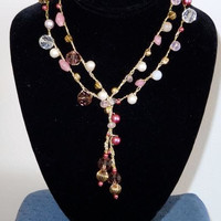 Crochet Lariat in Shades of Pink