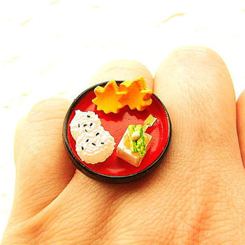 Traditional Japanese Food Ring Rice Ball Tofu Carrots  Miniature Food Jewelry