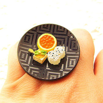 Traditional Japanese Food Ring Tofu Rice Miniature Food Jewelry