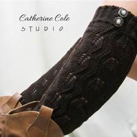 Open crochet knit leg warmers chocolate brown / womens leaf knit pattern  great w cowboy boots by Catherine Cole Studio legwarmers open work