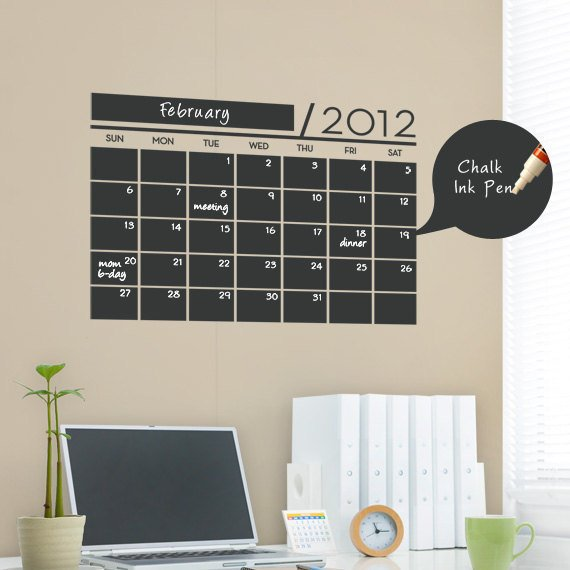 Chalkboard Wall Calendar - Vinyl Wall Decals
