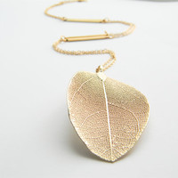 Gold Necklace - Real Leaf Long Necklace - 26&quot; - Matte Gold Chain Necklace with Gold Stick Connectors