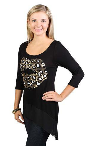 high low body with chiffon bottom and cheetah lip screen - debshops.com