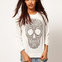 Loose Knit with Henna Skull Sweater