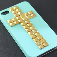 Bronze pyramid stud white Hard Case Cover ----for Apple iPhone 4 Case, iPhone 4s Case, iPhone 4 Hard Case