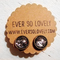 shooting stars earrings - black and silver starry night handmade sparkly metallic nickel free post earrings