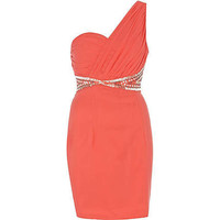 coral little mistress one shoulder dress