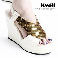 Wholesale Kvoll shoes fashion sequin heels wedges L64852 - Lovely Fashion