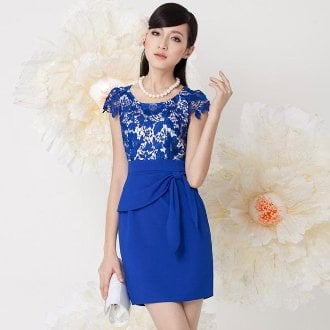 Blue Crocheted Lace Stitching Dress
