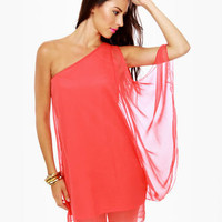 Cute Coral Dress - One Shoulder Dress - Red Dress - $36.00