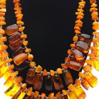 Double-Bib Baltic Amber Necklace