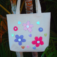 Small Canvas Tote Bag Flowers and Heart Tote
