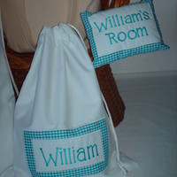 Personalized Travel Laundry Bag & Room Name Dropper Gift Set for Baby Boys