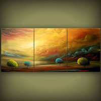 art original painting abstract triptych large Original Painting tree painting huge surreal gold modern landscape painting 54 x 24