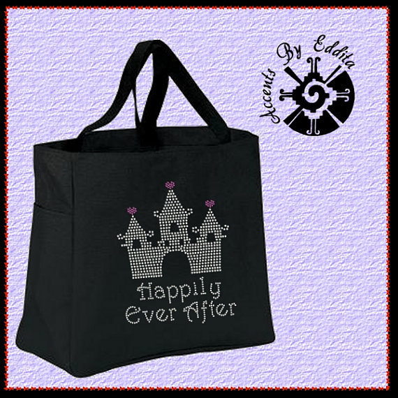 Bridal Rhinestone Tote Bag (your choice of colors) Happily Ever After Girly Princess Cinderella Style Castle for Bride or Bridal Party