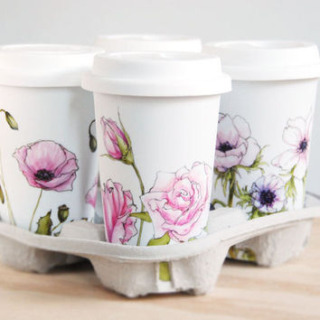 Custom Painted for You with Botanical Design - White Ceramic Travel Mug Double Walled Porcelain with Lid