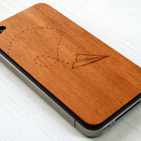 Paper Airplane Etching on Real Wood iPhone 4 Cover