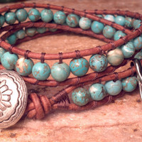 Turquoise - Leather Wrap Bracelet