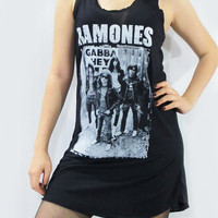 RAMONES Pinhead Gabba Gabba Hey Punk Rock Dress Black Dress Mini Dress Shirt Women Dress Tank Top Tunic Dress Screen Print Size S M