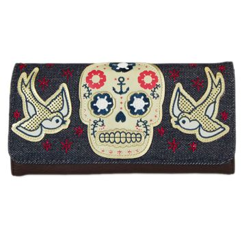 Sugar Skull With Sparrows Wallet by Loungefly
