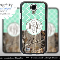 Monogram Galaxy S4 case S5 Real Tree Camo Mint Quatrefoil Personalized RealTree Samsung Galaxy S3 Case Note 2 3 Cover