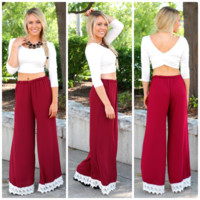 Autumn Elegance Pants - Burgundy