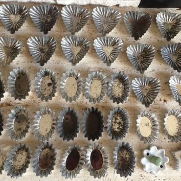 Lot of 43 Vintage or Antique Tin Molds and Cookie Cutters