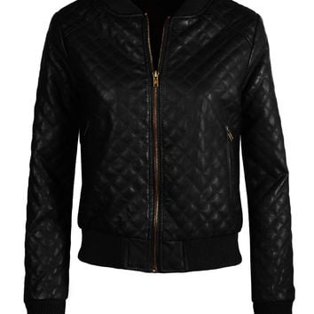 Womens Quilted Faux Leather Zip Up Moto Jacket