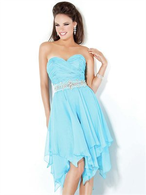 Short Sweetheart With Beaded Waistband Chiffon Prom Dress PD1913