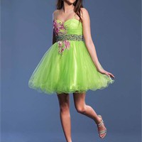 Spaghetti Straps A-line Strapless Knee Length Tulle Prom Dress PD1914