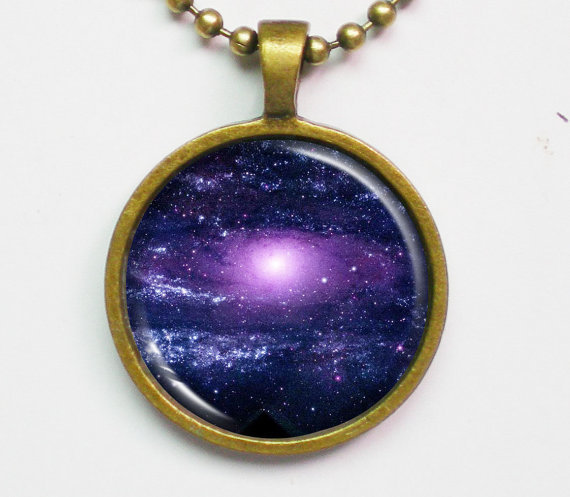 Constellation Necklace - Ultraviolet Andromeda -Astronomical Necklace - Galaxy Series