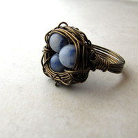 Birds Nest Ring Blue Eggs Lapis Lazuli Bronze Wire Wrapped Size 6