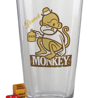 """Drunk Monkey"" Pint Glass by Trixie and Milo"