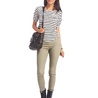 Must-Have Striped Tab-Sleeve Top | Wet Seal