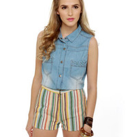 Lucca Couture Shorts - Striped Shorts - Woven Shorts - $56.00