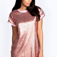 Fiona Woven Sequin T-shirt Dress