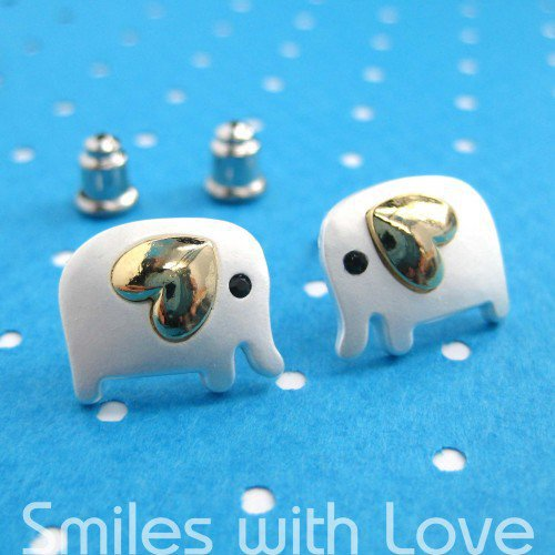 Small Elephant Earrings in Silver with Gold Heart Detail