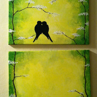 Love Birds In a Tree- abstract ORGINAL ACRYLIC on CANVAS