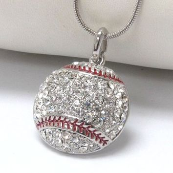 "Crystal ""Bling"" Rhinestone Baseball Necklace"