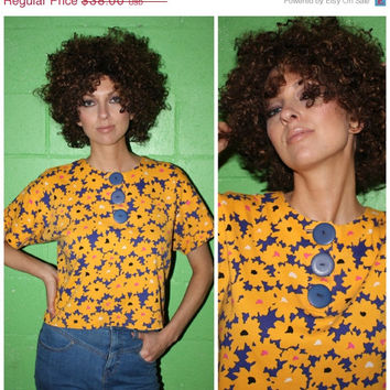 Vintage 80s CROPPED Top, FLORAL Oversized BUTTON Funky Purple + Mustard Flower Summer Shirt