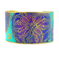 Purple Etched Cuff Bracelet, Modern Floral Design, Original Design, Etched Metal Jewelry, Bright Colors, Wide Bracelet, Statement Bracelet