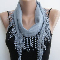 Cotton scarf, gray lace scarf, summer scarf