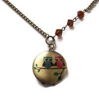Owl Locket, Kawaii Necklace, Brass, Bicone Bead