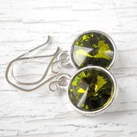 Olivine Sterling Silver Swarovski Crystal Earrings Olive Rhinestone