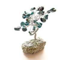 Turquoise &#x27;Gem Tree&#x27; on Sparkling Iron Pyrite Base