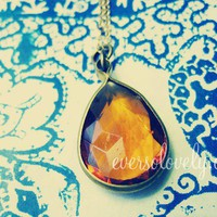 token of my love - faceted amber drop gold necklace